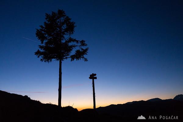 At the top of Kašna planina after sunset