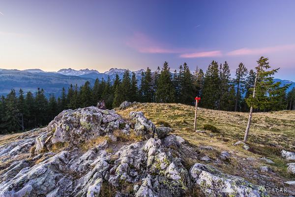 The Kamnik Alps from Kašna planina after sunset