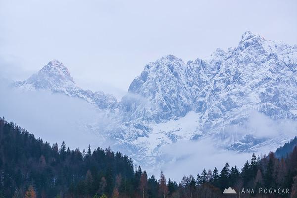 Mts. Razor and Prisojnik from Lake Jasna
