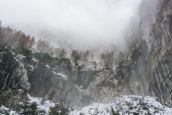 Fog descended to the Upper Martuljek waterfall area