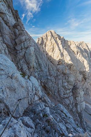 In the vertical rockface of Mt. Koroška Rinka looking towards Mt. Skuta