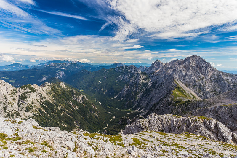 From Mt. Turska gora looking towards Logarska dolina valley and Kamniško sedlo saddle