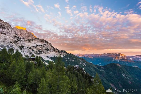 Colorful sunrise from Kranjska koča hut at Ledine