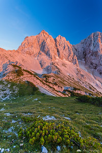 Mt. Koroška Rinka in the pink light at sunset