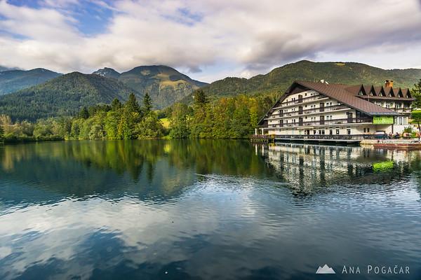 Preddvor lake and Hotel Bor