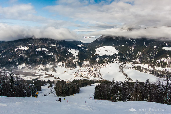 Skiing in Podkoren, Kranjska Gora - view from the top of the slopes