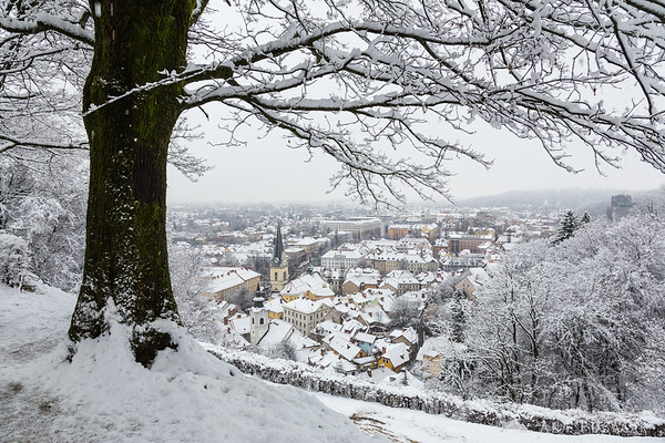 First snow in Ljubljana: views from the Ljubljana Castle