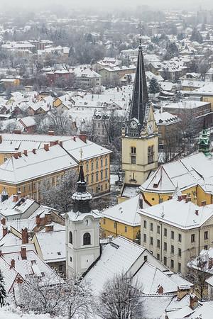 First snow in Ljubljana: views from the Ljubljana Castle