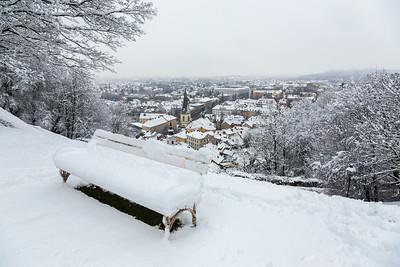 First snow in Ljubljana - Jan 24, 2014