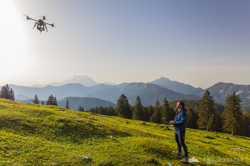 Janez Kotar flying his copter over Kofce in the Karavanke mountains