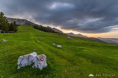 Sunrise at Kofce in the Karavanke mountains