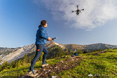 Janez Kotar flying his copter over Kofce in the Karavanke mountains