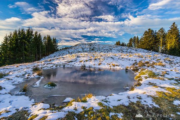 After sunrise on Kranjska Reber - a frozen pond