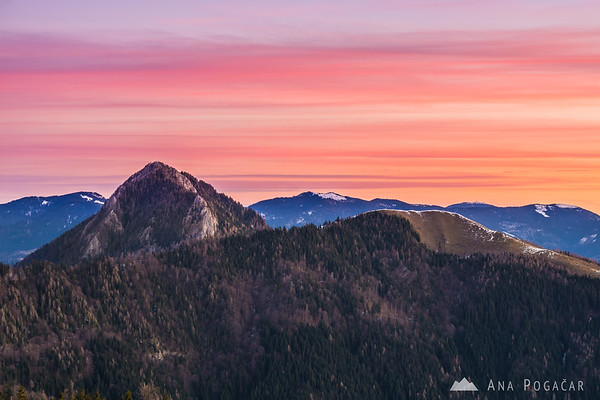 Before the sunrise on Kranjska Reber - Mts. Veliki Rogatec and Lepenatka against the pink sky