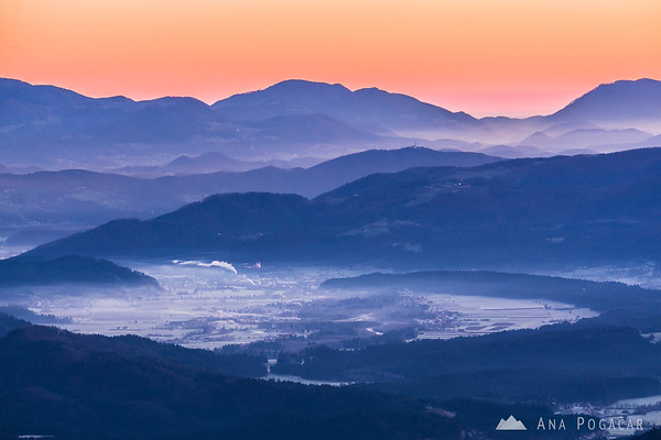 Before the sunrise on Kranjska Reber - looking at the layers of mists around Nazarje