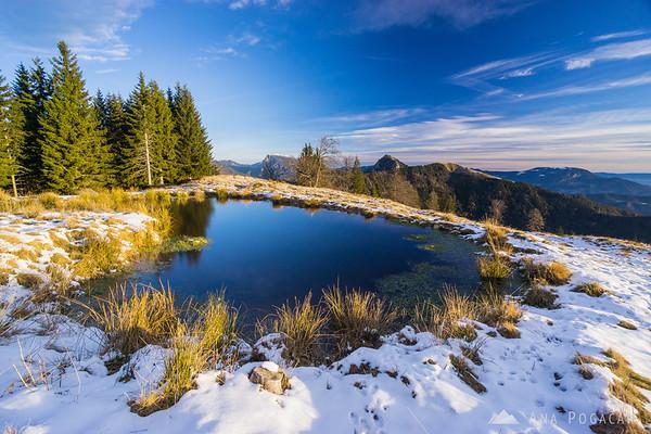 A pond on Kranjska Reber after sunrise