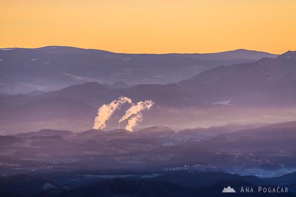 At sunrise on Kranjska Reber - smoke coming from the Šoštanj thermal power plant