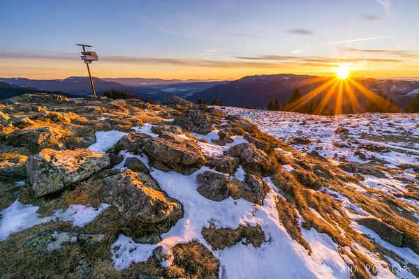 At sunrise on Kranjska Reber - the sun just peaked from behind the horizon