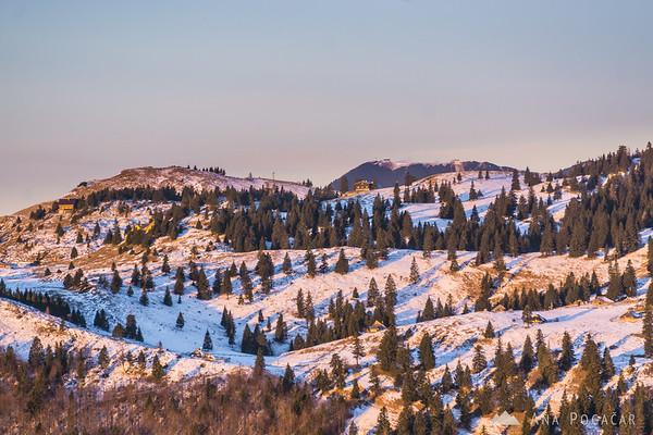 Velika planina from Kranjska Reber at sunrise