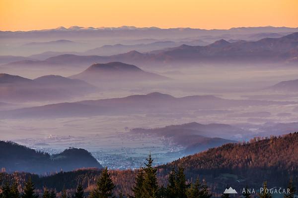 At sunrise on Kranjska Reber - looking towards Kamnik
