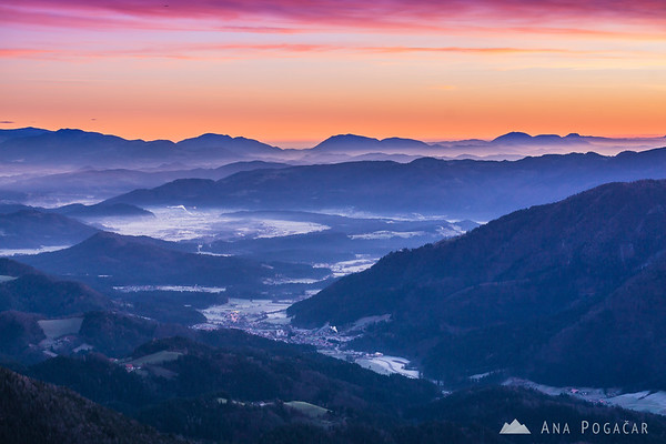 Before the sunrise on Kranjska Reber - looking at the Dreta valley with Gornji Grad and Nazarje