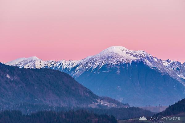 Sunrise from Spodnja Luša with views of the Karavanke range