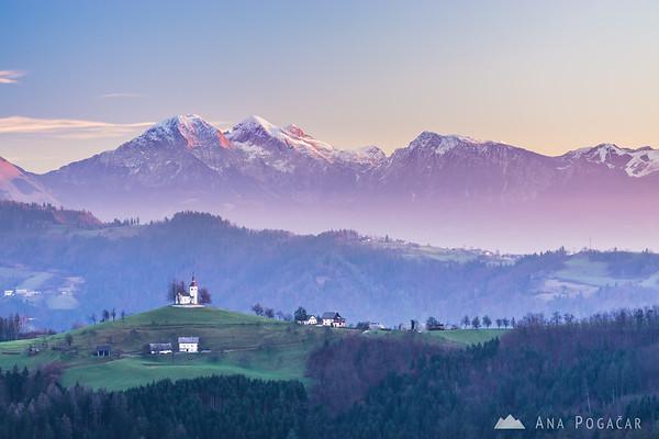 Sunrise from Spodnja Luša with views of the Kamnik Alps