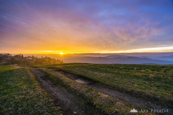 Fiery sunrise from Rakitovec