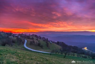 Fiery sunrise at Rakitovec - Dec 23, 2014