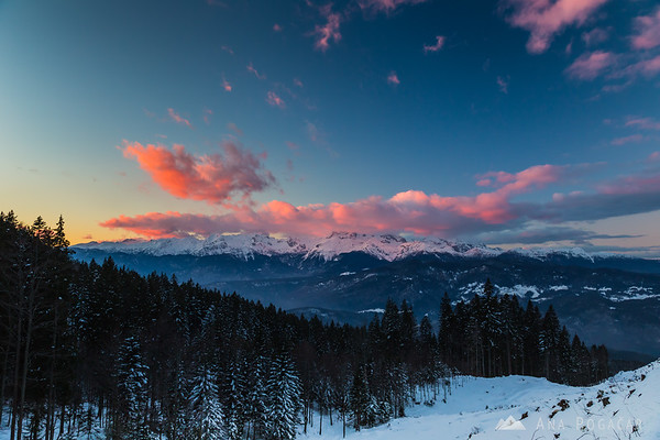 Sunset over the Julian Alps from Soriška planina