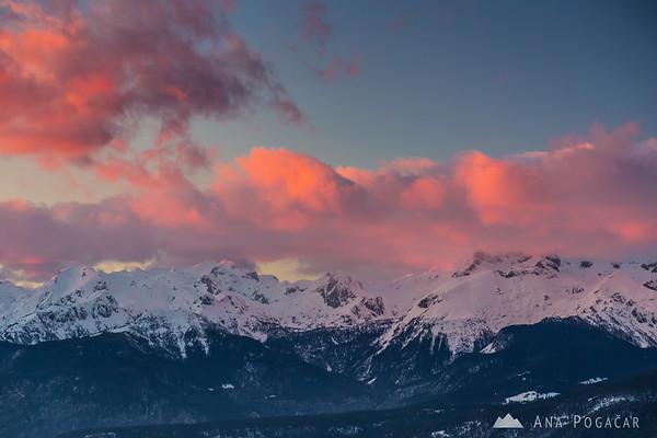 Sunset over the Julian Alps from Soriška planina