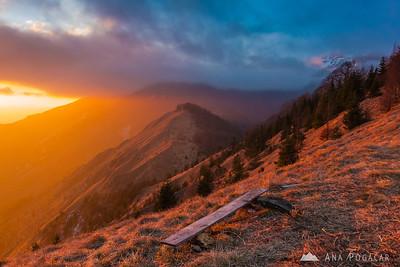 Sunset on Mt. Kamniški vrh - Jan 12, 2014