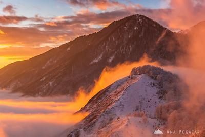 Sunset on snowy Kamniški vrh - Jan 26, 2014