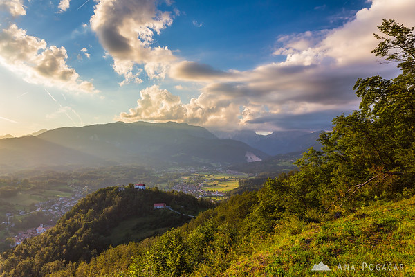 Views from Špica hill above Kamnik on a sunny summer afternoon
