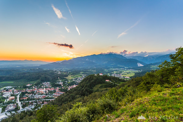 Views from Špica hill above Kamnik at sunset