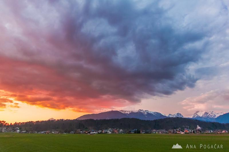 Nice sunset from the fields near Kamnik