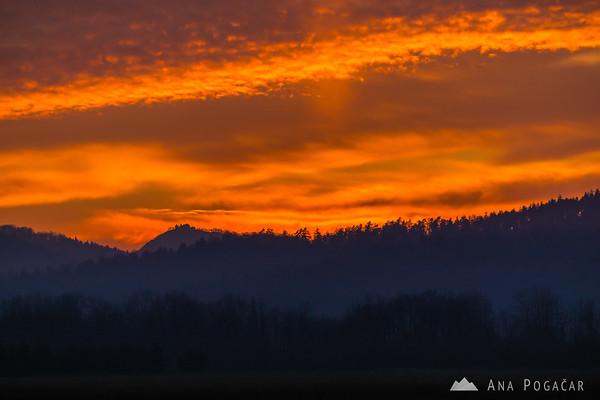 Intense sunset from the fields near Kamnik
