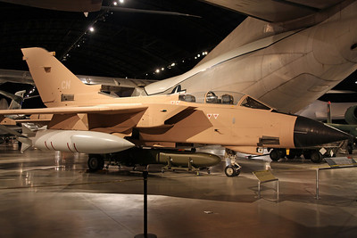 ZA374/CN Tornado GR1 RAF 17Sq. Restored into desert camo, named 'Miss Behavin', as stationed at Dhahran Airbase duing 'Desert Storm' in 1991. Actually marked as 'ZD374' in error, during the hasty re-painting for the Gulf War, it was never corrected.