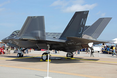 168845/NJ-107 F-35C (CF-14, the fifth LRIP 5 C-model) US Navy VFA-101 'Grim Reapers'. On display prior to delivery, will be based at Eglin AFB as part of the joint-USAF 33FW.