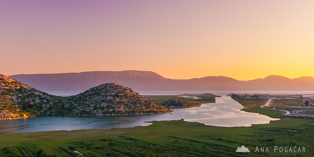Sunset at the Neretva river delta