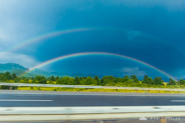 Rainbow on the way south through Croatia