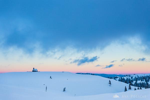 Chapel on Velika planina after sunset