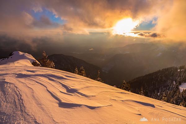 Poljanski rob on Velika planina at sunset