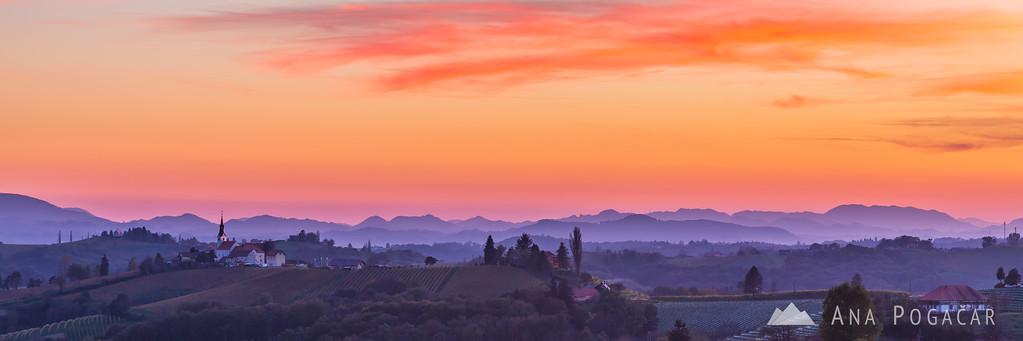 Sunset in vineyards around Svetinje and Jeruzalem