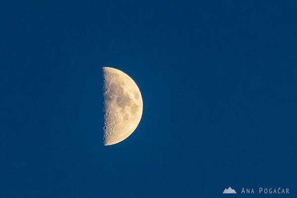 The moon from Stari grad hill above Kamnik