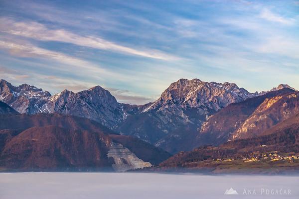 View from Stari grad hill above Kamnik towards the Kamnik Alps