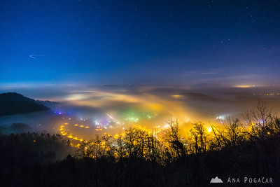Foggy Kamnik at night - Dec 19, 2015