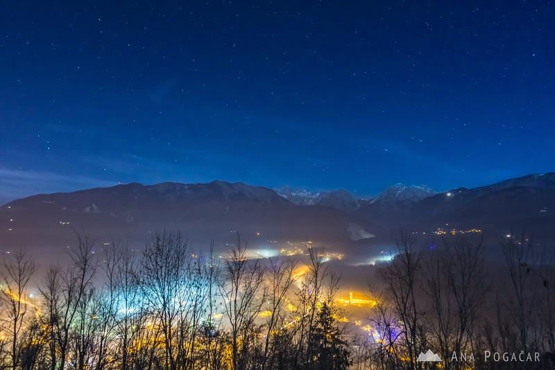 The Kamnik Alps from Stari grad hill at night
