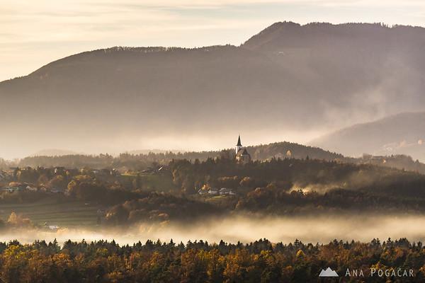 Sunset in the vineyards of Prihova, a village near Slovenske Konjice