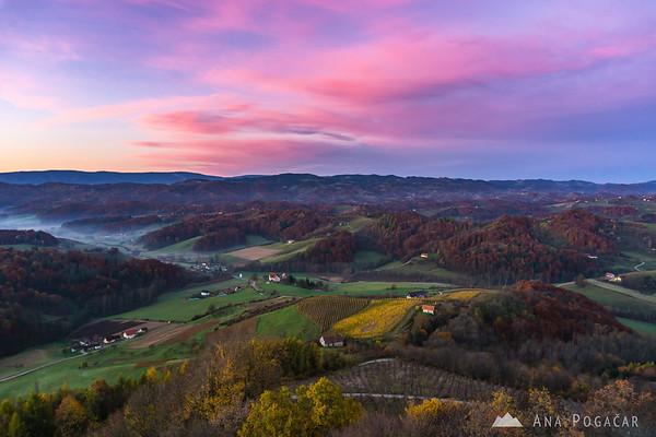 Sunrise from the Plač Tower (Plački stolp), Slovenske gorice region